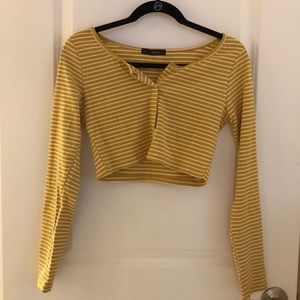 YELLOW & WHITE STRIPED CROP TOP W/ BUTTONS